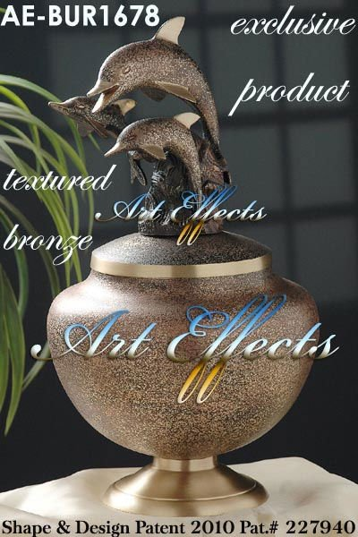 Textured Bronze Brass Dolphin Cremation Urn